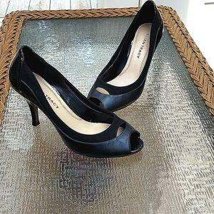 Ellen Tracy, Black peep toe heels, size 9
